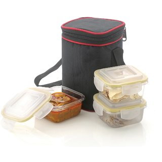 Prexo Glass Lunch Box Set of 3, Square, Microwave Safe Office Tiffin-White