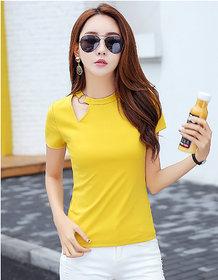 Vivient Women Yellow Plain Geny Cut Hosery Top