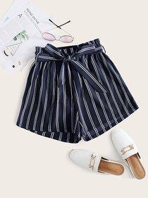Vivient Women Blue Stripe Short