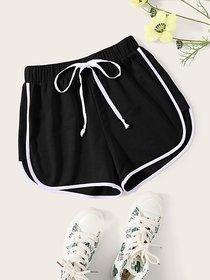 Vivient Black Plain Cotton Blend Short For Women