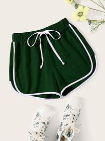 Vivient Green Plain Cotton Blend Short For Women