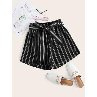 Vivient Women Black Stripe Short