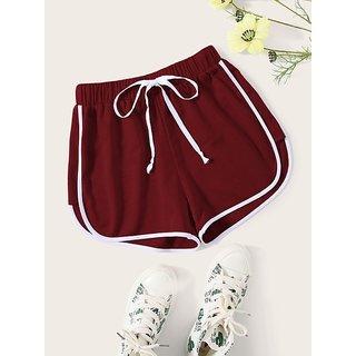 Vivient Maroon Plain Cotton Blend Short For Women
