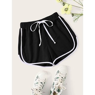 Vivient Black Plain Cotton Blend Short For Women