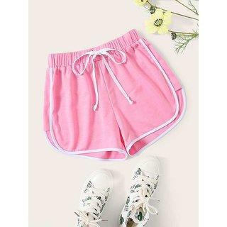 Vivient Pink Plain Cotton Blend Short For Women
