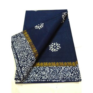 Summer Pure Cotton Zari Border KalamKari Block Print Saree W/B Dark Blue