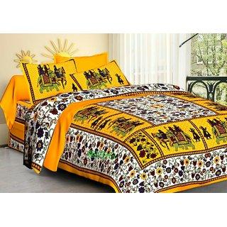 SHAGUN FASHION 130 TC Cotton Double Jaipuri Prints Bedsheet (Pack of 1, Multicolor)