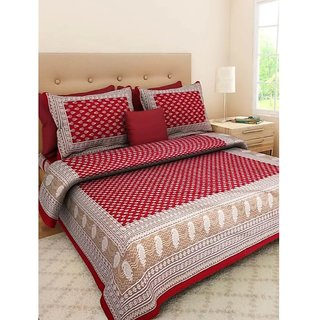 SHAGUN FASHION 130 TC Cotton Double Jaipuri Prints Bedsheet (Pack of 1, Red)