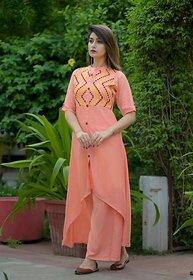 Dhruvi Party Wear Rayon Orange Kurta Palazzo Set for Women