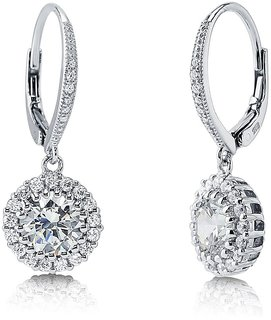 RM Jewellers 92.5 Sterling Silver American Diamond Life Style Earrings For Women
