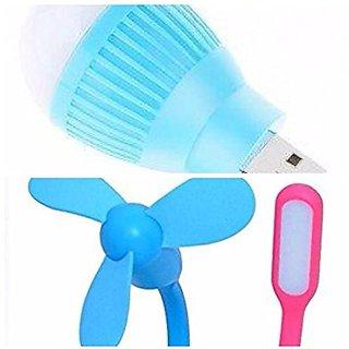 i CLICK ENTERPRISES Combo of 3 Mini Portable and Flexible USB Fan 3 Blade LED Light Lamp and Bulb