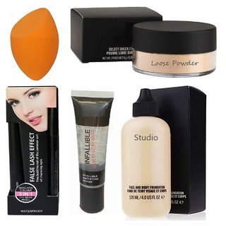 7 combo of 3 in 1 liner, mascara, eyebrowpencil, infallible, studio face  body foundation, loose powder, blender puff