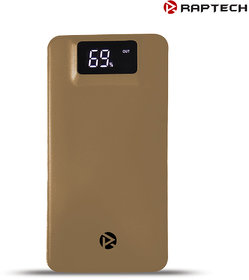 Raptech RT-06 10000mAh Power Bank Charger Fast Battery Power Bank for All Smartphones 2 Output Power Bank (Gold)