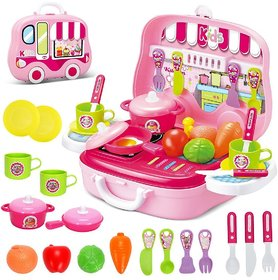 Pretend Play Carry Along Kitchen Food Play Set for Girls (26 Pcs w/o Stickers)