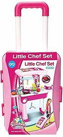 Little Chef 2 in 1 Kitchen Play Set, Pretend Play Luggage Kitchen Kit for Kids with Suitcase Trolley, Multi Color
