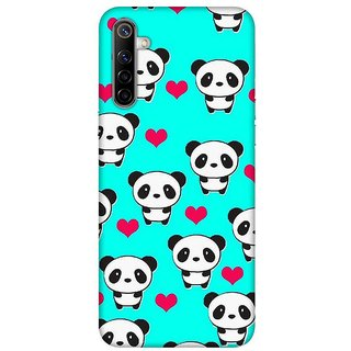 OnHigh Designer Printed Hard Back Cover Case For Oppo Realme 6, Cute Panda Pattern