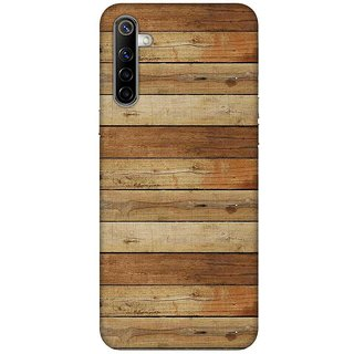 OnHigh Designer Printed Hard Back Cover Case For Oppo Realme 6, Wooden Line Print