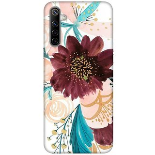 OnHigh Designer Printed Hard Back Cover Case For Oppo Realme 6, Pink Leaves  Flower