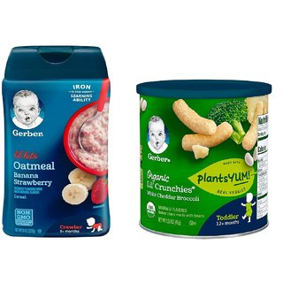 Gerber Cereal & Lil Crunchies Combo (Pack of 2) - Oatmeal Banana Strawberry + White Che Broccoli