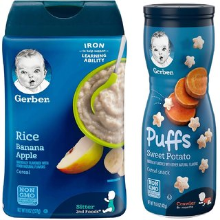 Gerber Cereal & Puffs Combo (Pack of 2) - Rice & Banana Apple Cereal + Sweet Potato Puffs