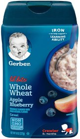 Gerber Lil' Bits for Crawler (8oz) - Whole Wheat Cereal Apple Blueberry