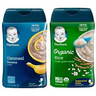 Gerber Cereal Combo (8oz) (Pack of 2) - Organic Rice Cereal + Oatmeal Banana