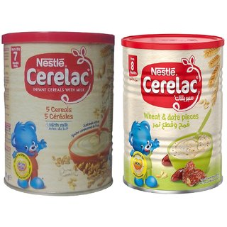 Nestle Cerelac Combo 400g (Pack of 2) - 5 Cereals With Milk + Wheat & Date Pieces