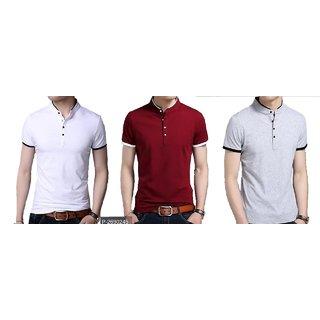 Body Talk Men's Mandrin 100 Cotton half sleeve T-shirt White Maroon Grey