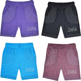 Jisha Girls Casual Shorts Cotton Multicolor Set of 4