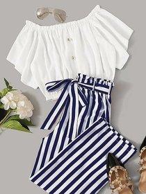 WC-001 Westchic Navy Straip Pajama with White Top