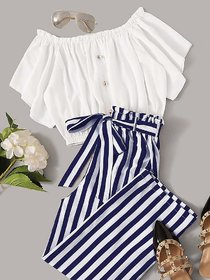 Westchic Navy Basic Striped Pajama with Round Neck White Top For Women