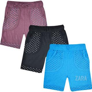 Jisha Girls Casual Shorts Cotton Multicolor Set of 3