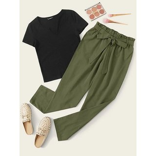 Westchic Green Pajama With Black Top