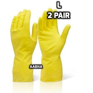 Rubberex Latex Household Rubber Hand Gloves, Large, 2 Pair, Yellow