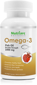 Nutriarc Wellness Double Strength Fish Oil 1000 mg, for Healthy Heart, Joint and Brain Functions, 60 Softgels