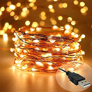 Divstylz 5 Meters 50 LED USB Warm White Durable Waterproof Copper LED Decorative Fairy String Lights for Festivals