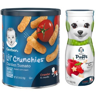 Gerber Lil Crunchies & Puffs Combo (Pack of 2) - Garden Tomato + Strawberry Apple Puffs