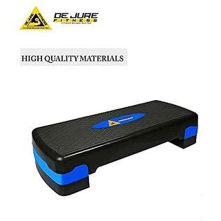 DE JURE FITNESS Polypropylene Adjustable Home Gym Exercise Fitness Stepper for Exercise Aerobics Stepper (Capacity 440 Lbs Color Blue)