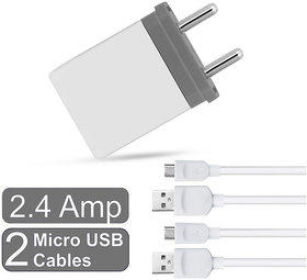 Raptech Dual USB 2.1 amp Maximum 2.4 amp Fast Wall Charger + 2 Charge With 2 Micro USB Cables White-Grey
