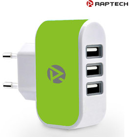 Raptech 3 Ports 3.1A Triple USB Port Wall Home Travel AC Charger Adapter EU Plug Mobile Phone Charger Green