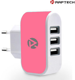Raptech 3 Ports 3.1A Triple USB Port Wall Home Travel AC Charger Adapter EU Plug Mobile Phone Charger Pink