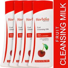 Herbdiva Fruit Cleansing Milk For Normal & Dry Skin 100ml Each Pack of 4