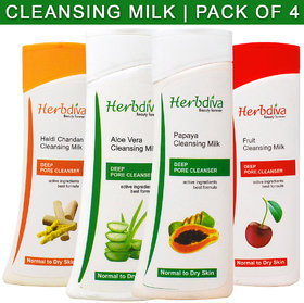Herbdiva Aloevera, Haldi Chandan, Fruit & Papaya Cleansing Milk 100ml Each Pack of 4