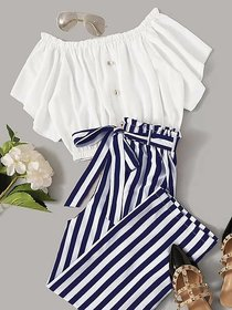 Westchic Navy Striped Palazo With White Round Neck Basic Top For Women