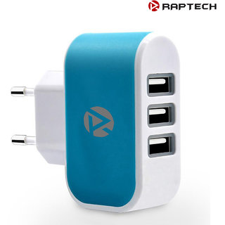 Raptech 3 Ports 3.1A Triple USB Port Wall Home Travel AC Charger Adapter EU Plug Mobile Phone Charger Blue