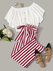 Westchic Women's White Top & Red Striped Palazzo
