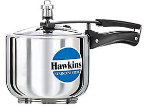 Hawkins Stainless Steel Tall Pressure Cooker 3 Litres Silver