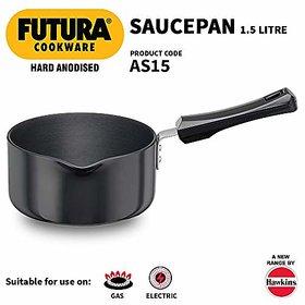 Hawkins Futura Hard Anodised Sauce Pan 1.5 Litres Black