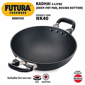 Hawkins Futura Non-Stick Kadhai Deep-Fry Pan 4 Litre Black