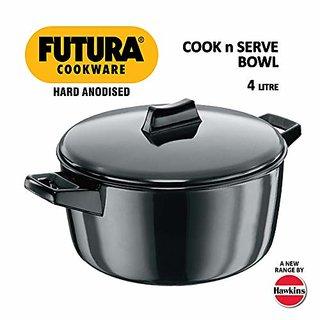 Hawkins Futura Hard Anodised Cook-n-Serve Bowl 4 Litres Black